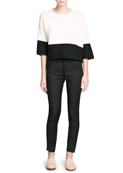Contrast panel cropped sweater