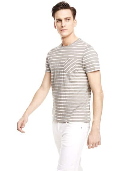 Chest-pocket striped t-shirt
