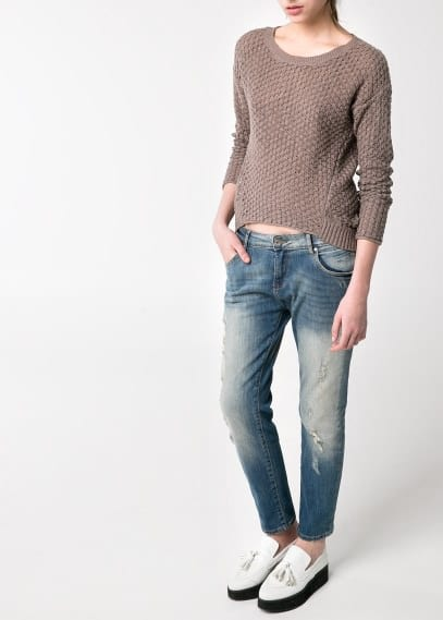 Asymmetric open-knit sweater