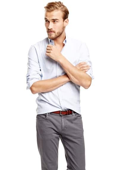 Camisa slim-fit Oxford riscas