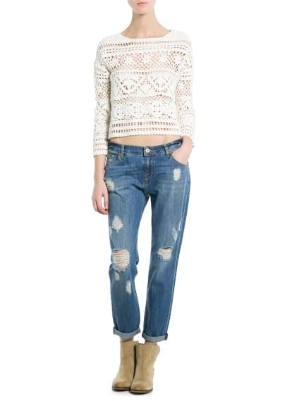 Crochet cropped trui