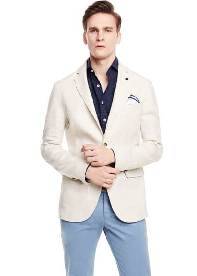 Unstructured linen blazer