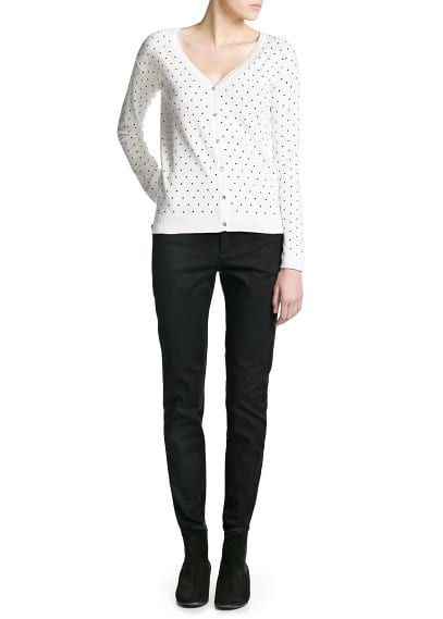 Polka-dot v-neck cardigan
