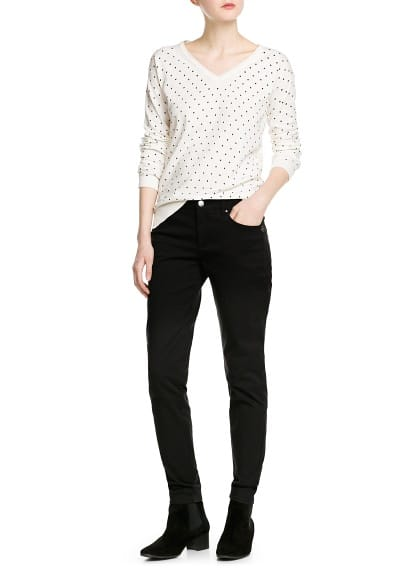 Polka-dot v-neck sweater