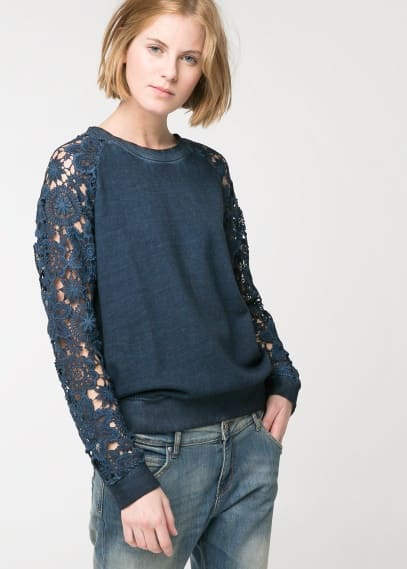 Crochet sleeve sweatshirt