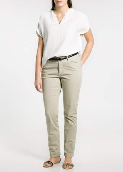 Slim-fit cotton-blend trousers