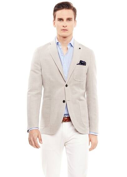 Textured cotton-blend blazer