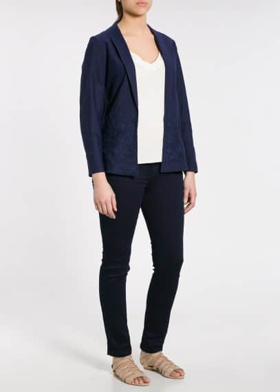 Embroidered unstructured blazer