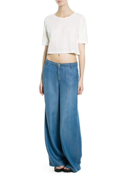 T-shirt cropped bordada