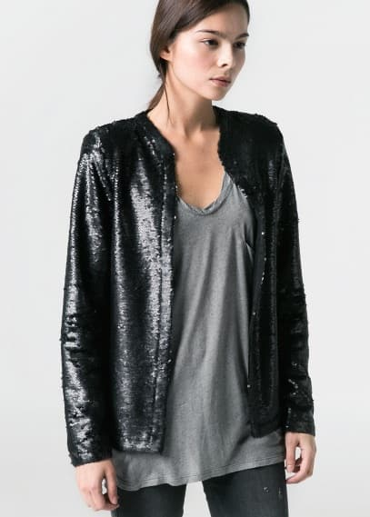 Mao collar sequin jacket