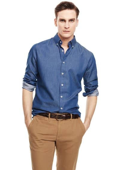 Camisa slim-fit cambraia
