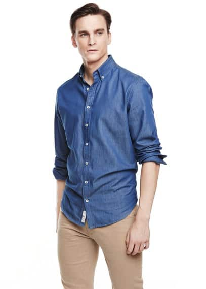 Camicia slim-fit chambray