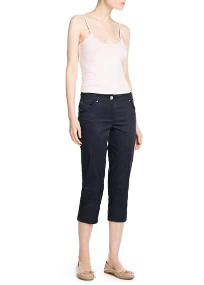 Cropped cotton-blend trousers