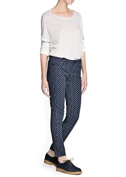 Slim-fit printed trousers