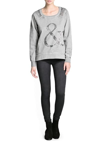Sweat-shirt coton sequins