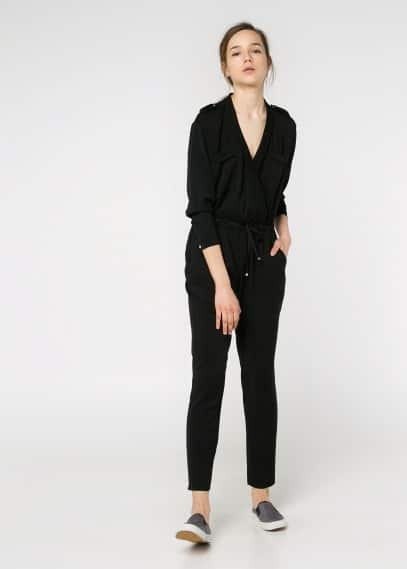 V-neck long jumpsuit