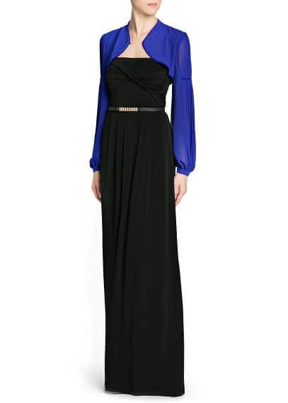 Pleated sleeve chiffon bolero
