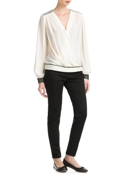 Trim wrap blouse