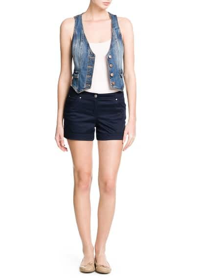 Denim gilet met medium wassing