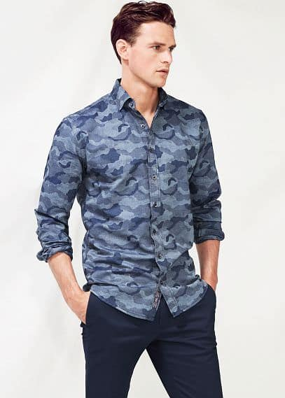 Chambray slim-fit overhemd met camouflageprint