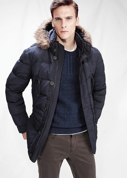 Flap pocket feather down parka