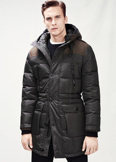 Contrast panel feather down parka