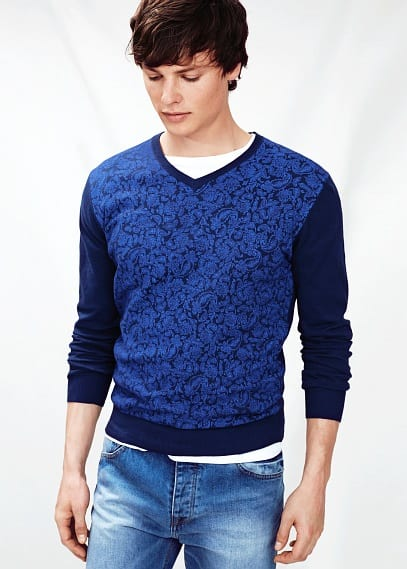 Paisley print cotton sweater