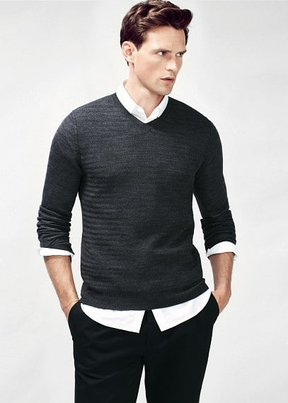 Decorative seam wool-blend sweater