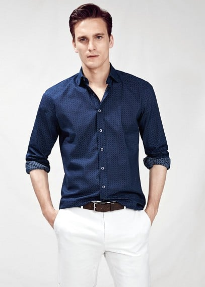 Camisa slim-fit estampado geométrico