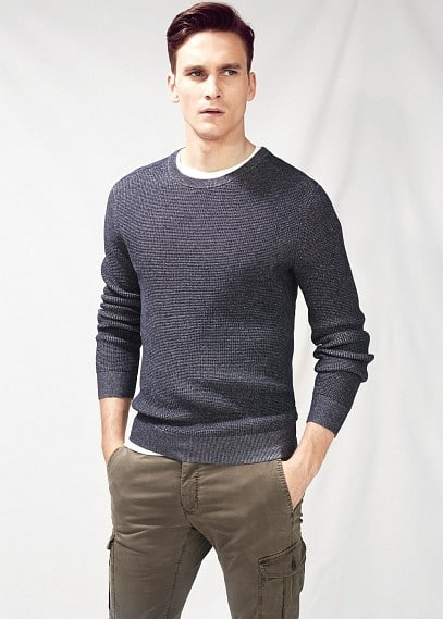 Elbow-patch ribbed sweater