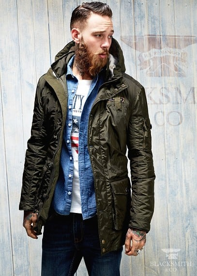 Patch quilted parka