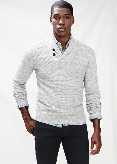 Shawl collar textured sweater