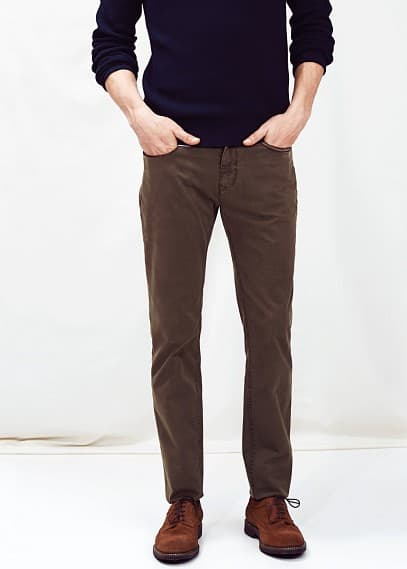 5-pocket garment-dyed slim-fit broek