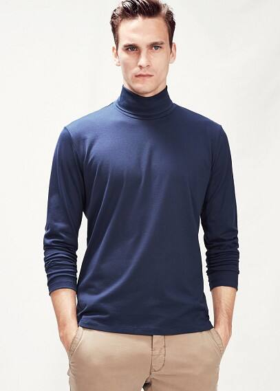 Turtleneck cotton t-shirt