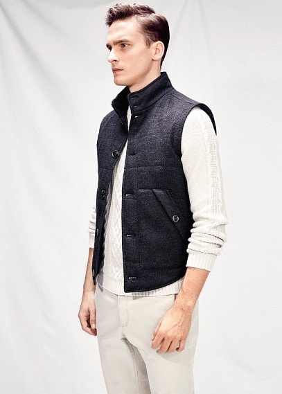 Quilted lining knit gilet