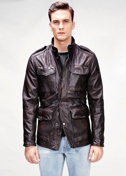Leather field jacket