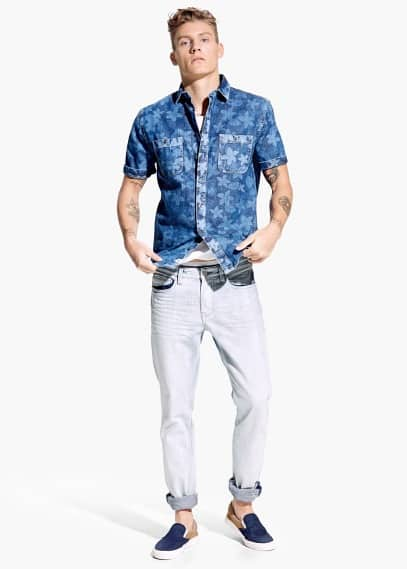 Camisa slim-fit denim floral | MANGO MAN
