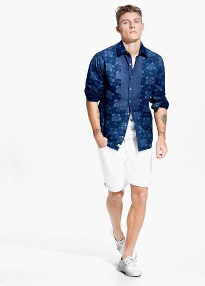 Slim-fit chambray-appliqué printed shirt | MANGO MAN