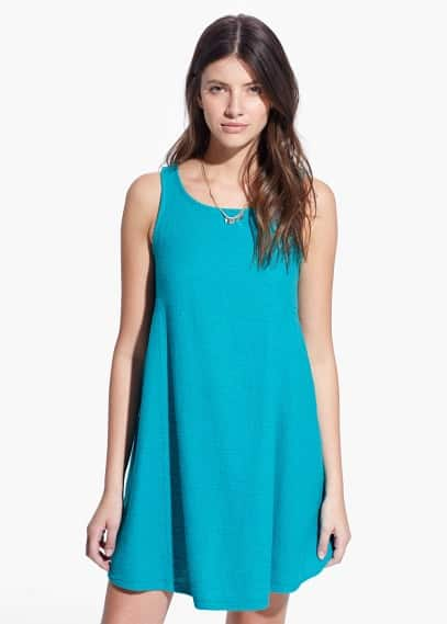 Textured cotton-blend dress