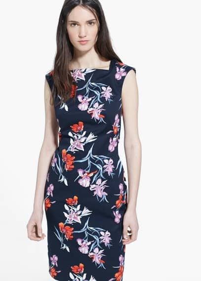 Vestido lápiz floral | MANGO