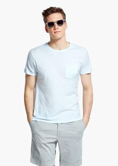 Chest-pocket soft egyptian-cotton t-shirt | MANGO MAN