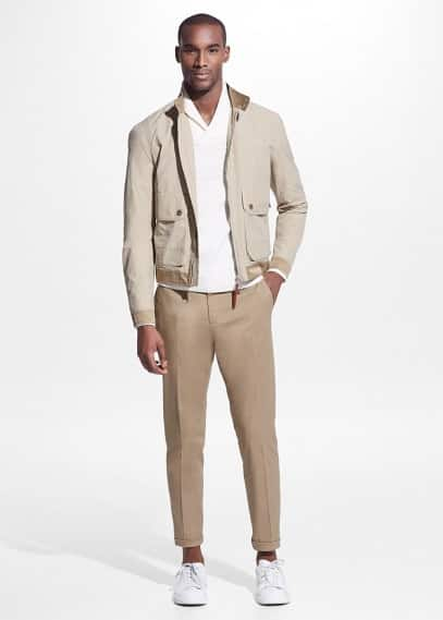 Slim-fit tailored cotton chinos | MANGO MAN