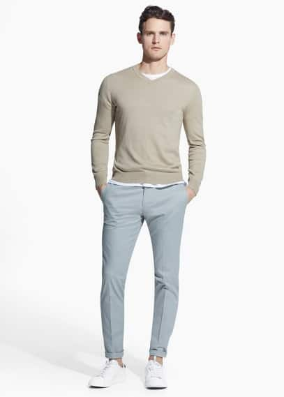 Tailored katoenen slim-fit chino