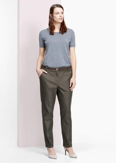 Kalhoty s geometrickým žakárem | VIOLETA BY MANGO