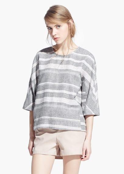 Gestreepte jacquard blouse | MANGO