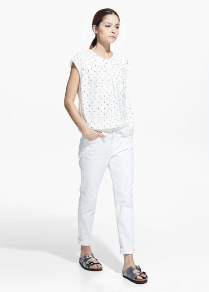Polka-dot pleated blouse   MANGO