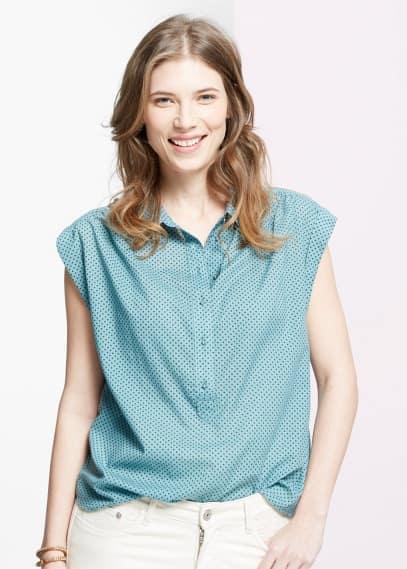 Polka-dot cotton blouse | VIOLETA BY MANGO