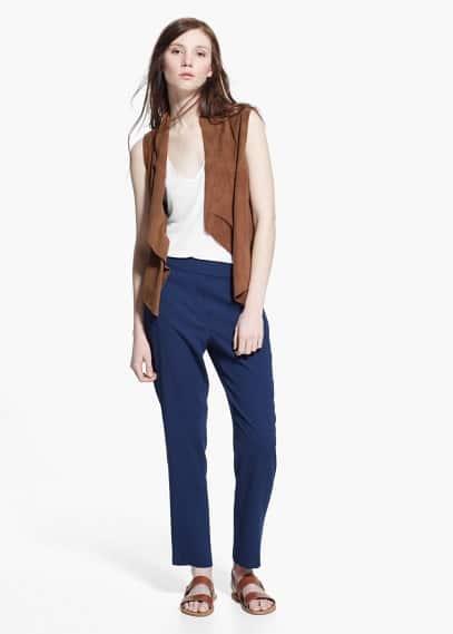 Pantalón recto textura | MANGO