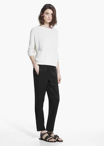 Straight textured trousers