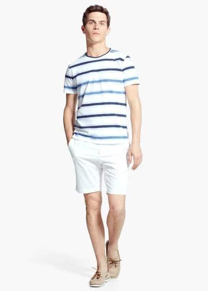 Camiseta rayas algodón | MANGO MAN